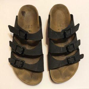 Birkenstock Birkis Black 3 Strap Sandals 7
